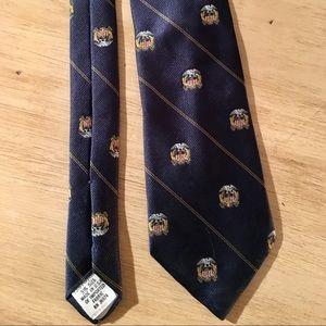 Vintage Navy Blue Tie American Eagle over Shield